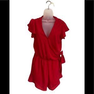 She & Sky red flowy wrap tie ruffle romper size L